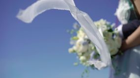 Braut an der Segelyacht stock video