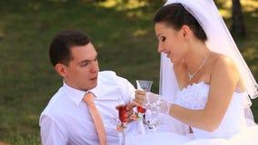 Braut, die ein Glas Champagner anhält stock video