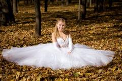 Braut, die in einem Park sitzt Stockfoto
