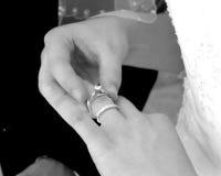 Braut, die Hochzeitsringe justiert Lizenzfreie Stockfotos