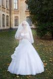 Braut, die am Hochzeitstag geht Stockbild