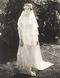 Braut, die im Hinterhof aufwirft lizenzfreie stockbilder
