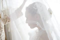 Braut gekleidet im weißen Kleid stockbild