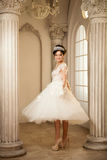 Braut hochzeit Die Braut in einem kurzen Kleid mit Spitze in der Krähe Stockbild