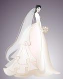 Braut im langen schicken Kleid Hochzeitsmode Invintations-Design Frauenschattenbild 001 Stockfotografie