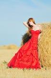 Braut im roten Hochzeitskleid auf einem Gebiet stockbild
