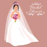 Braut im weißen Kleid mit Blumenstrauß Lizenzfreies Stockfoto