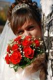 Braut mit Blumenstrauß Stockbild