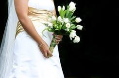 Braut mit Blumenstrauß Stockfotografie