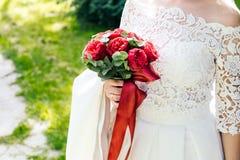 Braut mit Blumenstrauß, Nahaufnahme Lizenzfreies Stockbild