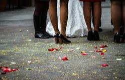 Braut mit Brautjungfern unten Stockbilder