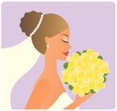 Braut mit dem Blumenstrauß Stockfotografie
