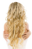 Braut mit dem langen angemessenen Haar von der Rückseite Stockfoto