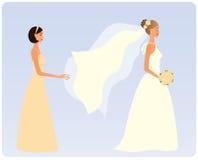 Braut mit einer Brautjunfer Stockbilder