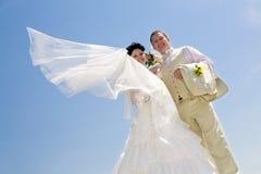 Braut mit Flugwesen viel und Bräutigam stockbilder