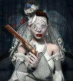 Braut mit Gewehr Stockbilder