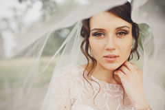 Braut mit Haselnussaugen schaut erstaunliche Stellung unter einem Schleier Stockbilder