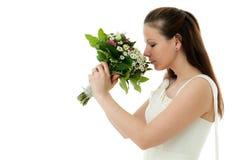 Braut mit Hochzeitsblumenstrauß Stockfoto