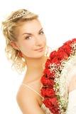 Braut mit Luxuxblumenstrauß Stockfotografie