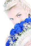 Braut mit Luxuxblumenstrauß Stockfotos
