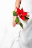 Braut mit roter Blume Lizenzfreies Stockbild