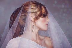 Braut mit weißem Schleier lizenzfreie stockbilder