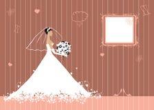 Braut schön mit Blumenstrauß Stockbild