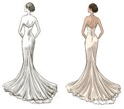 Braut Schönes junges Mädchen in einem Hochzeitskleid Langes Kleid mit einem Endstück Stockfoto