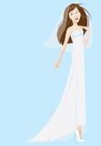 Braut-tragendes weißes Kleid und Schleier Lizenzfreie Stockbilder