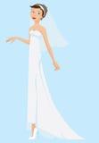 Braut-tragendes weißes Kleid und Schleier Stockbilder