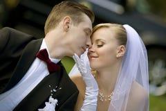 Braut und Bräutigam über Hochzeitsauto Stockfotografie