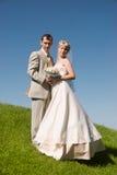 Braut und Bräutigam auf dem Hügel Lizenzfreie Stockfotos