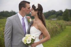 Braut und Bräutigam auf einem Gebiet Stockfotografie