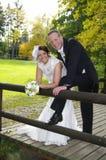 Braut und Bräutigam auf einer Bauholzbrücke im Herbst Stockbilder