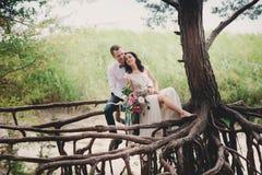 Braut und Bräutigam auf Naturlächeln Lizenzfreies Stockfoto