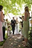 Braut-und Bräutigam-Being Showered With-Blumen-Blumenblätter lizenzfreies stockfoto