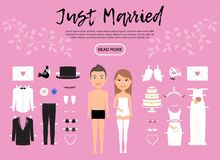 Braut und Bräutigam Characters Constructor Template lizenzfreie abbildung