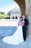 Braut und Bräutigam an der Hochzeit stockfotografie