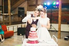 Braut und Bräutigam an der Hochzeit, welche die Hochzeitstorte schneidet lizenzfreie stockfotografie