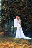 Braut und Bräutigam in der städtischen Architektur stockbild