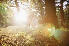 Braut und Bräutigam, die beim Baumküssen sitzen Lizenzfreies Stockbild