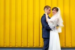 Braut und Bräutigam, die gegen Wand umarmen stockfotos