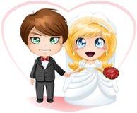 Braut und Bräutigam, die heiratet Stockfotografie