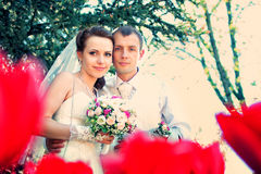 Braut und Bräutigam, die im Park aufwerfen lizenzfreies stockbild
