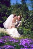 Braut und Bräutigam, die im Park aufwerfen stockbild