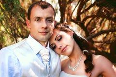 Braut und Bräutigam, die im Park aufwerfen lizenzfreie stockbilder