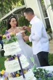 Braut und Bräutigam, die Kuchen essen lizenzfreie stockfotografie