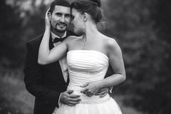 Braut und Bräutigam, die sich umfassen Stockbild