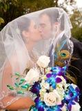 Braut und Bräutigam, die unter Schleier küssen Stockfotos