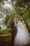 Braut und Bräutigam in einem Parkküssen Paarjungvermählten Braut und Bräutigam an einer Hochzeit im Naturgrünwald küssen Fotoport Stockfotografie